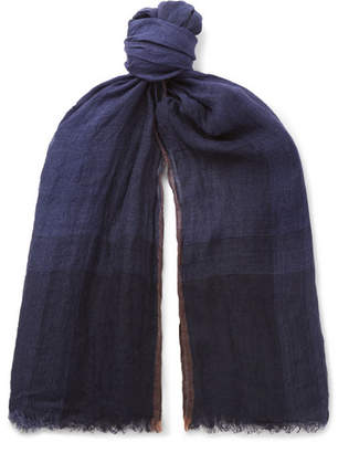 Brunello Cucinelli Checked Washed Linen and Silk-Blend Scarf - Men - Navy