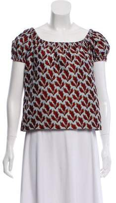 Philosophy di Lorenzo Serafini Leaf Jacquard Short Sleeve Top