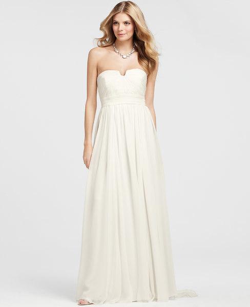 Ann Taylor Petite Vintage Silk Strapless Wedding Dress