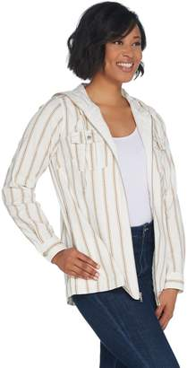 Denim & Co. Stretch Twill Zip-Front Striped Jacket with Hood