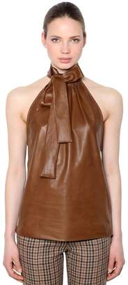 Rochas Nappa Leather Top With Bow