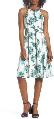 Adelyn Rae Mina Print Fit & Flare Halter Dress