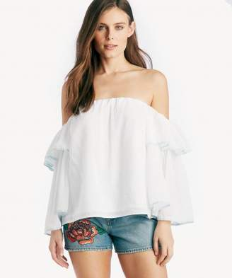 Sole Society Off Shoulder Bell Sleeve Tipped Blouse