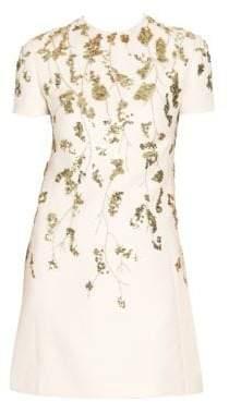 Valentino Floral Embellished Wool& Silk Mini Shift Dress