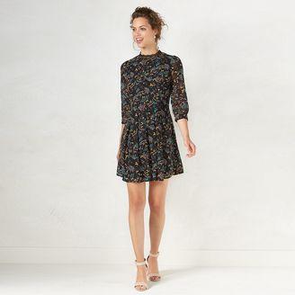 Women's LC Lauren Conrad Floral Mockneck Shift Dress $60 thestylecure.com
