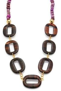 Nest Purple Agate& Ebony Wood Link Long Necklace