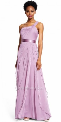Adrianna Papell Chiffon Tiered One Shoulder Evening Dress $190 thestylecure.com