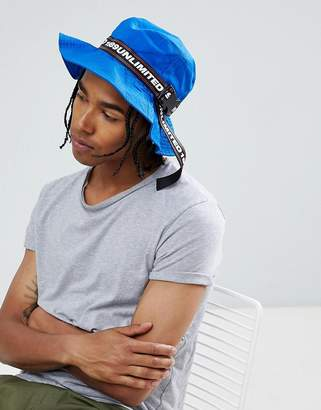 Asos DESIGN Bucket Hat In Cobalt Blue With Taping Detail