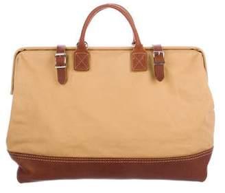 Handbag Leather-Trimmed Canvas Satchel