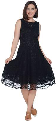 Isaac Mizrahi Live! Lace Dress with Point D'Esprit Trim