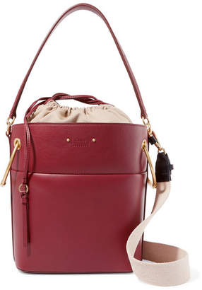 Chloé Roy Medium Leather Bucket Bag - Burgundy