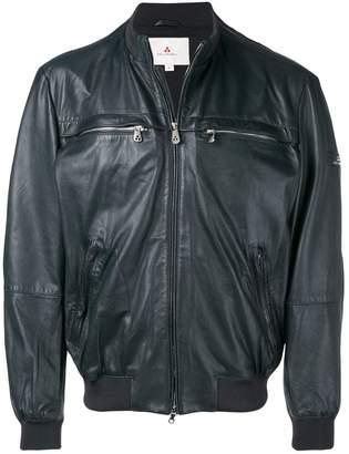 zipped-up leather jacket