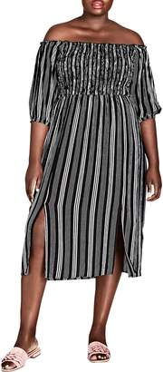 City Chic Stripe Play Off the Shoulder Midi Dress