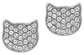 Karl Lagerfeld PARIS Klassic Crystal Flat Choupette Stud Earrings