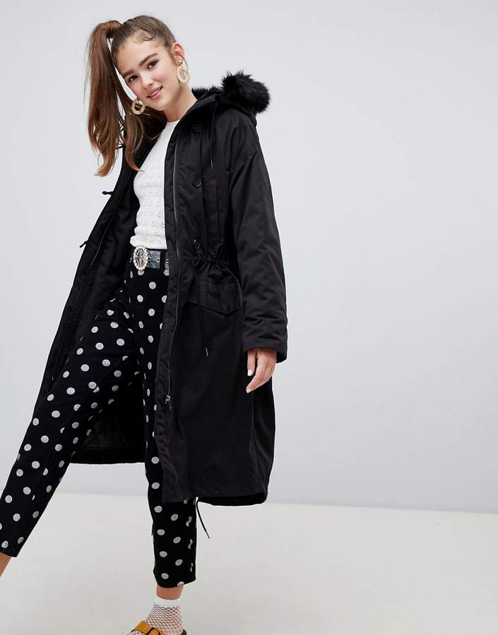 hooded parka coat with faux fur details