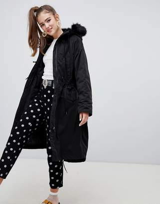 Monki hooded parka coat with faux fur details