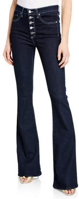 Veronica Beard Beverly High-Rise Skinny Flare Jeans with Button Fly