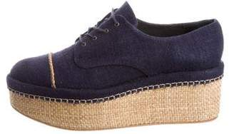 Stuart Weitzman Denim Platform Oxford Shoes