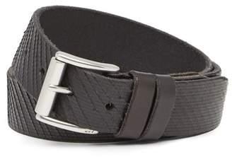 John Varvatos Collection Laser-Cut Leather Buckle Belt
