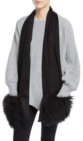 Cashmere Mongolian Lamb Fur Scarf with Pockets