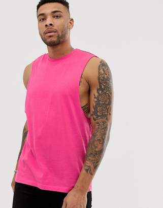 Design DESIGN organic relaxed sleeveless t-shirt with dropped armhole in pink