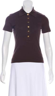 Tory Burch Logo Accented Short Sleeve Top