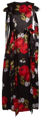 Simone Rocha Bow Trim Floral Print Silk Satin Dress - Womens - Black Multi