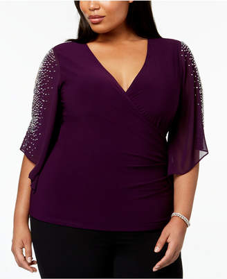 MSK Plus Size Embellished Surplice Top