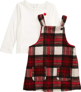 Little Me Plaid Shirt & Pinafore Dress Set