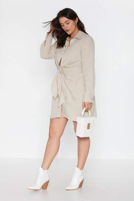 Nasty Gal Womens Knot Detail Ruched Shirt Dress - White - 4, White