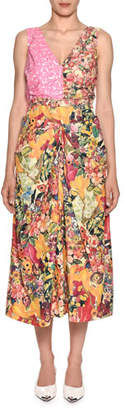 Marni Sleeveless V-Neck Mixed-Print A-Line Midi Dress
