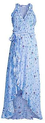 Poupette St Barth Women's Tamara Floral & Grid Print Maxi High-Low Wrap Dress