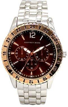 Geoffrey Beene シルバーブレスレット,PNPケースwithローズゴールドベゼルとブラウンダイヤル腕時計