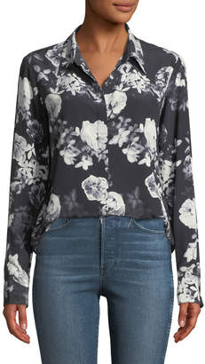 Theory Sunaya Floral Photo Button-Front Silk Blouse