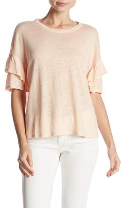 1 STATE 1.State Ruffled Sleeve Linen Tee