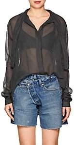 Taverniti So Ben Unravel Project Women's Checked Silk-Cotton Tieneck Blouse - Black
