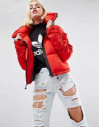 Asos Puffer Jacket With Ruched Arm And Sporty Trims