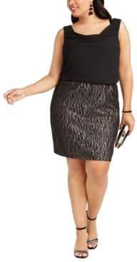 BCX Trendy Plus Size Lace-Skirt Sheath Dress