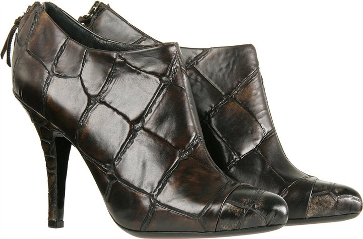 Givenchy Croc Embossed Leather Booties