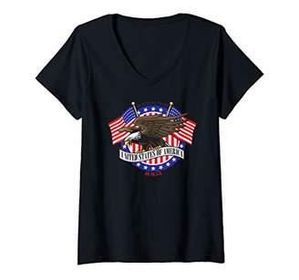 Womens Patriotic USA Bald Eagle V-Neck T-Shirt