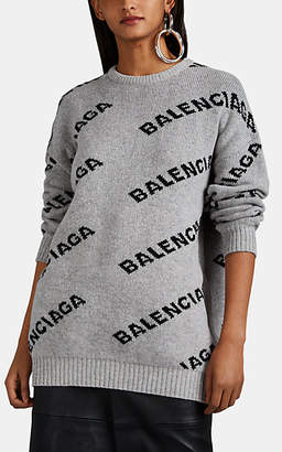 Balenciaga Women's Intarsia-Knit Wool-Blend Oversized Sweater - Gray