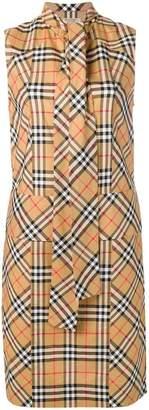 Burberry vintage check tie-neck dress
