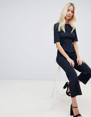 Fashion Union bow back jumpsuit in ditsy polka dot