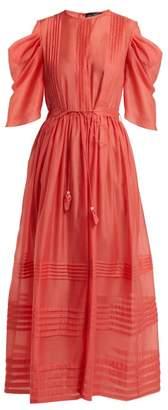 Anna October - Pintuck Gathered Sleeve Tie Waist Dress - Womens - Red