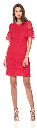 Tommy Hilfiger Women's Crytal Lace Sheath with Puffed Sleeve