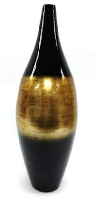 Element 32 Inch Black and Gold Striped Lacquer Bamboo Vase