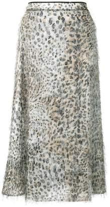 McQ leopard flared midi skirt