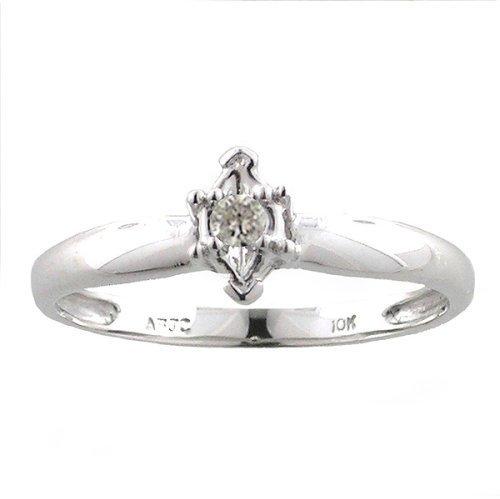 10K White Gold Marquise .05ct. Diamond Solitaire Ring