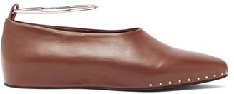 Jil Sander Studded Almond Toe Leather Pumps - Womens - Burgundy