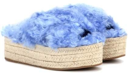 Miu Miu Faux fur platform espadrille sandals